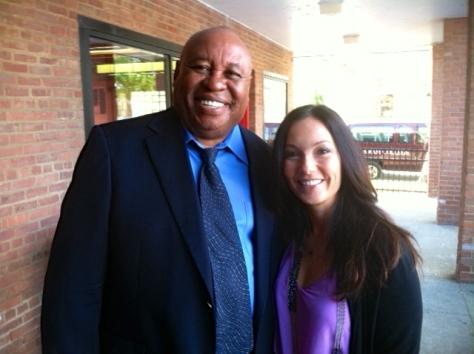 Host Justine Greenwald with Earl Billings