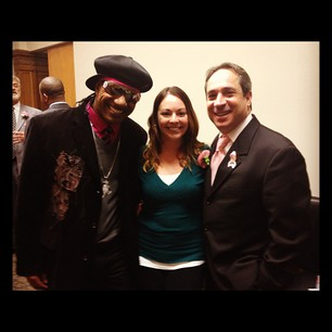 Reporter Leah Haslage with Kangol Kid and Councilman Matt Zone at the Mama Luke recognition