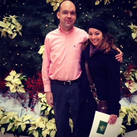 Reporter Leah Haslage with Associate Director of Communications at Tom O'Konowitz Glow at the Garden at the Cleveland Botanical Gardens